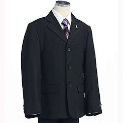 BJK Collection Boys Solid Black Suit