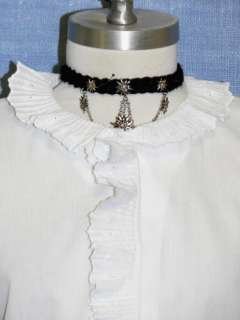 WHITE LACE Victorian Cotton Summer Trachten BLOUSE XL