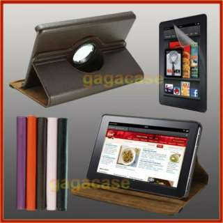 BR Kindle Fire 360 Rotating Leather Flip Hard Stand Case Cover+Screen