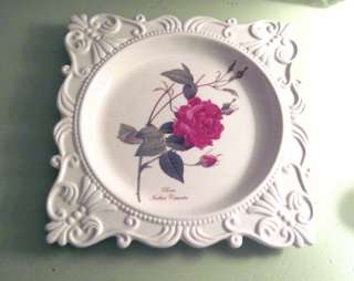 BOTANICAL White Scrolled PINK ROSE Fine Porcelain PLATE