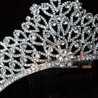 Noble Queen Tiaras Silver Crystal Diamond Comb Rhinestone Godess Crown