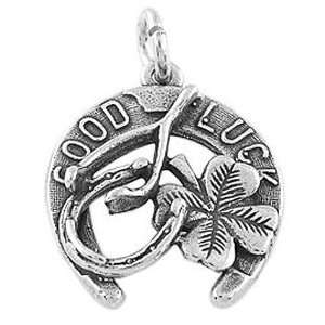 Sterling Silver One Sided Good Luck Charm Jewelry