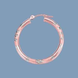Two Tone Hoop Earrings 14K Pink Rose White Gold