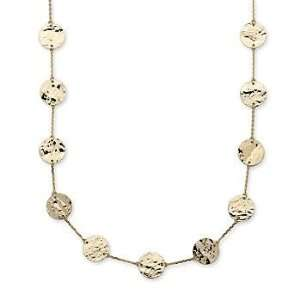 14kt Yellow Gold Hammered Disc Station Necklace. 38 Jewelry
