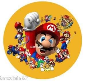 Super Mario edible cake image topper  Round