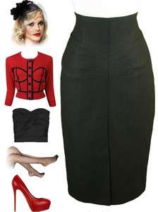 BLACK Bombshell PINUP High Waist WIGGLE Pencil Skirt w/Rouched Details
