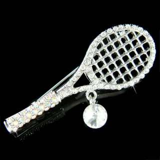 Austrian Crystal ~Tennis Racket~ Racquet Ball Player Pin Brooch Xmas