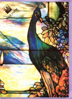 LOUIS COMFORT Peacock Art Nouveau Greeting Cards Glittery Leaded Glass