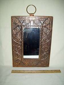 Decritive Copper Frame Wall Mirror with Large Brass Hanging Ring