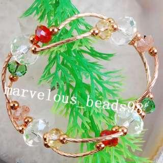White Red Green Crystal Beads Bracelet Bangle G0074