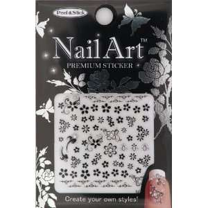Nail Art Sticker Floral Design NSA 09 Black Beauty