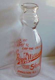 COP THE CREAM QUART MILK BOTTLE ROGER WILLIAMS DAIRY JOHNSTON R.I