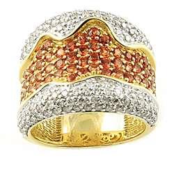 14k Yellow Gold Orange Sapphire and 1 1/4ct TDW Diamond Ring (H I, I1