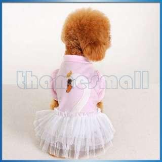 Pet Dog Ruffle Tulle Skirt Dress Apparel Clothing w/ Cute Swan Pattern