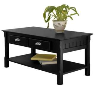 New Winsome Timber Coffee Table w/ Drawer & Shelf Black