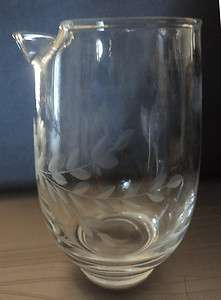Vintage Elegant Etched Glass 15 Ounce Cocktail Pitcher