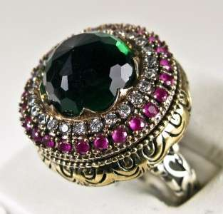 85ctw Emerald, Ruby & Sapphire Rose Gold/925 Cocktail Ring 16g   Sz 8