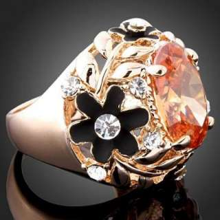 Smoked Citrine Crystal Black Rose Gold GP Cocktail Ring