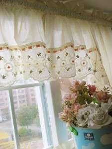 French Flower Embroidery Cutwork Swag Curtain 4 Pieces