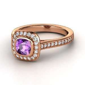 Annabelle Ring, Cushion Amethyst 14K Rose Gold Ring with