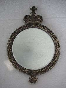Decorative Victorian Brass Mirror Frame With Crown