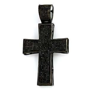 Pave Black Diamond Mens Hip Hop Religious Cross Pendant (1.00 cttw