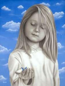 Michael Godard PRECIOUS MOMENTS Butterfly Girl Art*G