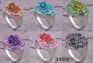 flower enamel rhinestone alloy white gold plated rings 31005Y66