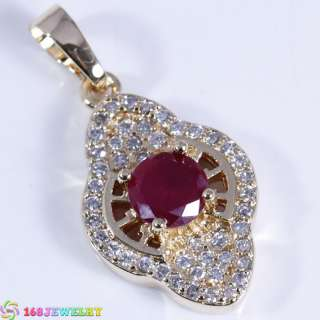 BF1569 PENDANT RED RUBY 18K GOLD&SILVER 168JEWELRY