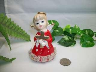 Miniature Girl with Cross Lace CHRISTMAS ANGEL Holiday Figurine JAPAN