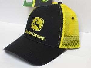 John Deere Trucker Cap Hat Black Twill Yellow Mesh Back Farmer Farm