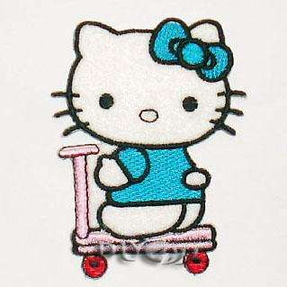 HELLO KITTY RIDING A SCOOTER Embroidered Patch Applique