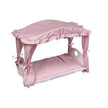 Canopy Doll Bed with Pink Gingham Bedding   Badger Basket Toys   Toys