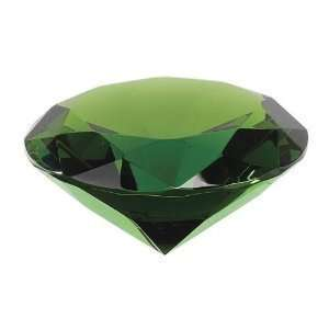 Green Crystal Glass Diamond Shaped Paperweight 2.25