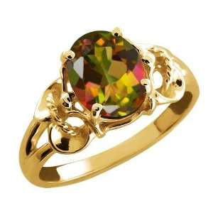 2.30 Ct Oval Mango Mystic Topaz 18k Yellow Gold Ring