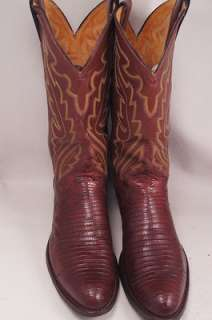 Justin Lizard Brown 10 D Mens Western Boots