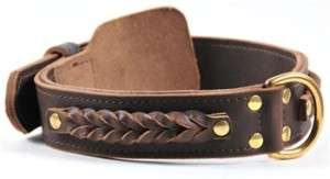 Double Ply Leather Wide Dog Collar Braided Heaven