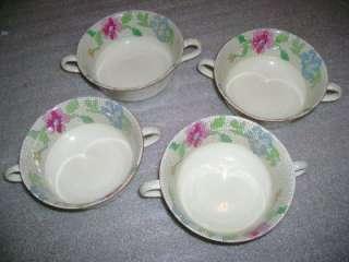 Lot 4 Antique Masons Sampler Pattern Handled Soup Cups