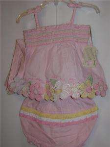 Messages From Heart Girls Embroidered Outfit 9 12M NWT