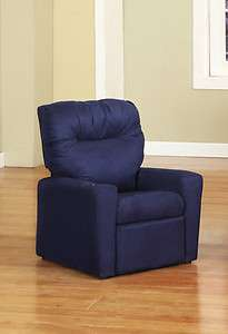 Dark Blue Microfiber Childrens Kids Recliner Chair With Cup Holder