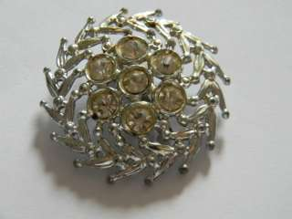 Vintage 1960s Crystal or Glass Brooch Pin in Good Condition