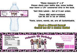 Monster High ~ Printed Water Bottle Labels ~ Birthday Party Favors