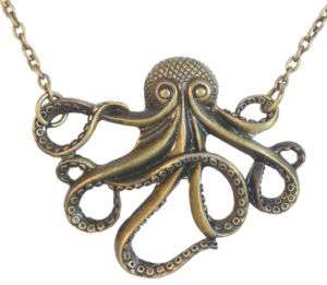 Vintage Octopus Retro Bronze Metal Pendant Necklace