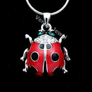Red Enamel Ladybug Rhinestone Crystal Pendant Necklace VP269