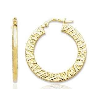 14k Yellow Gold Stylish Texture Circle Hoop Earrings Jewelry