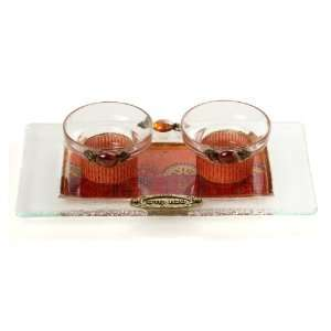 Short Glass Shabbat Candlesticks with Floral Arrangement