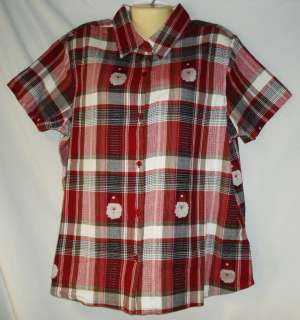 Womens NWT Red Plaid 100% Cotton Christmas Santa Claus Shirt 1X 2X 3X