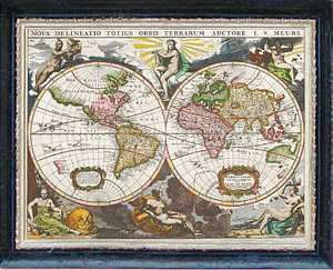 OLD WORLD MAP Dollhouse Picture FRAMED Art Miniature