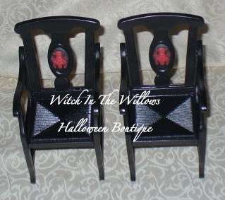 Gothic Halloween Arm Chairs Red Guns & Roses Skull for Barbie Ken