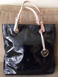 MICHAEL KORS Black Patent Leather Tote Bag Handbag $198